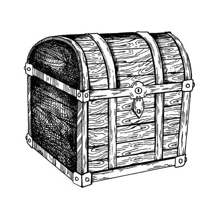 Illustration pour Vintage chest engraving vector illustration. Scratch board style imitation. Hand drawn image. - image libre de droit