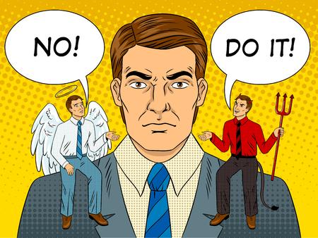 Illustration pour Devil and angel on shoulders pop art vector - image libre de droit