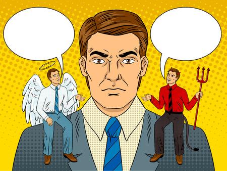 Illustration for Devil and angel on shoulders pop art vector - Royalty Free Image