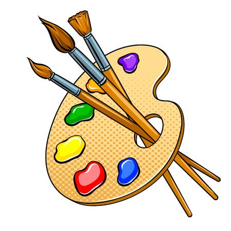 Illustration pour Palette with paints and brushes pop art vector - image libre de droit
