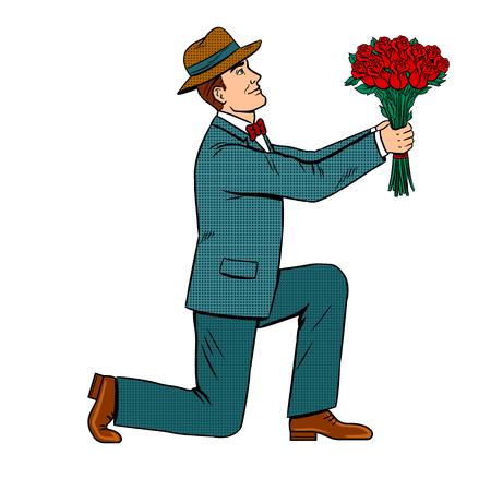 Illustration pour Man on one knee gives rose flowers bouquet pop art retro illustration. - image libre de droit