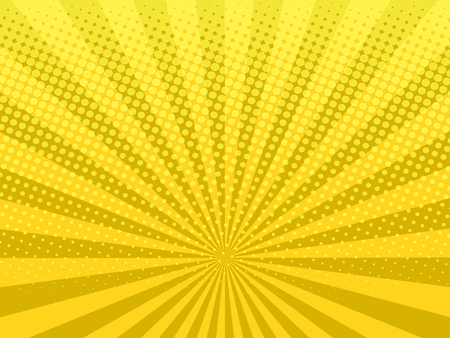 Illustration for Yellow shining halftone design background retro vector illustration. - Royalty Free Image