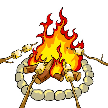Marshmallow on bonfire pop art retro vector illustration. Isolated image on white background. Comic book style imitation.