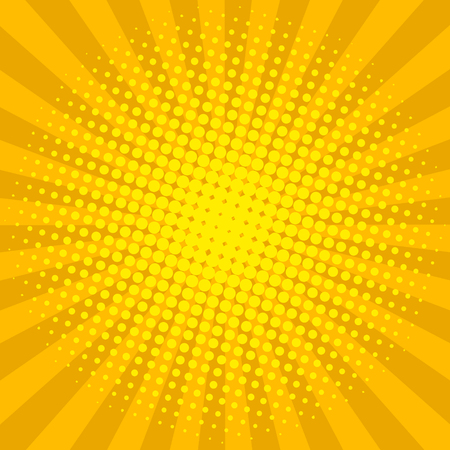 Ilustración de Yellow sun shine halftone design background retro vector illustration. - Imagen libre de derechos