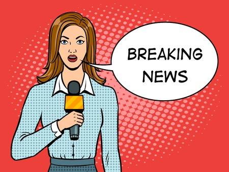 Foto de Journalist with microphone pop art vector illustration. - Imagen libre de derechos