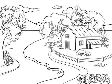 Illustration for Autumn landscape coloring vector illustration. Isolated image on white background. Comic book style imitation. - Royalty Free Image