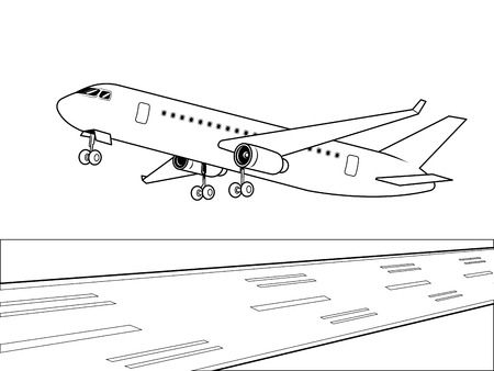 Airplane landing coloring vector illustration. Isolated image on white background. Comic book style imitation.