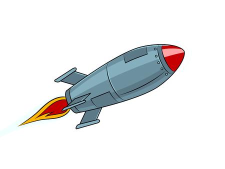 Ilustración de Rocket missile flying pop art style vector illustration. Isolated image on white background. Comic book style imitation. Vintage retro style. - Imagen libre de derechos