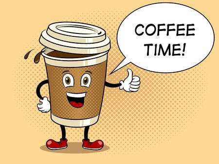 Ilustración de Coffee cup and thumb up pop art vector - Imagen libre de derechos