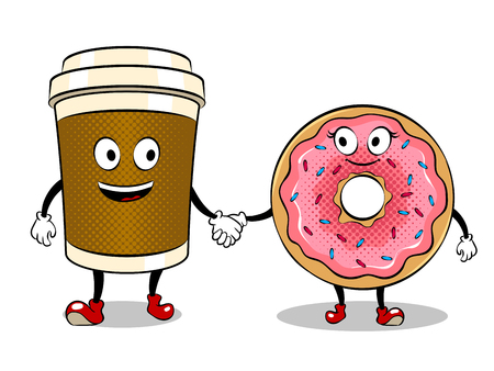 Illustration pour Coffee cup and donut pop art vector - image libre de droit