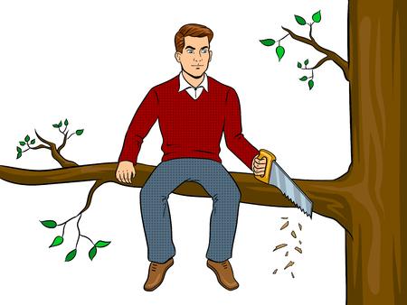 Illustration pour Man sawing tree branch and sit pop art vector - image libre de droit