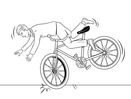 Man falling of bicycle coloring book vector