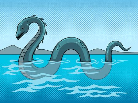 Ilustración de Loch Ness Monster fake underwater animal pop art retro vector illustration. Color background. Comic book style imitation. - Imagen libre de derechos