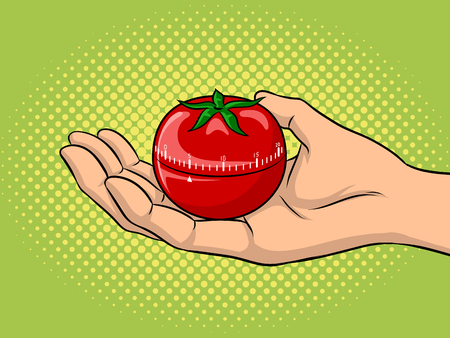 Tomato timer pop art vector illustration design.