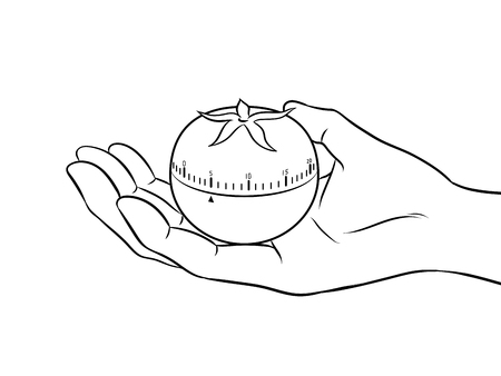 Tomato timer at hand coloring vector illustration. Isolated image on white background.