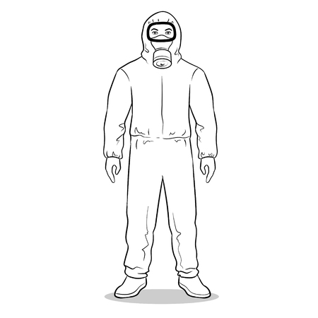 Illustration pour Man in yellow hazard protective suit coloring vector illustration. Isolated image on white background. Comic book style imitation. - image libre de droit