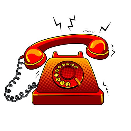 Ilustración de Red hot old fashioned phone metaphor pop art retro vector illustration. Isolated image on white background. Comic book style imitation. - Imagen libre de derechos