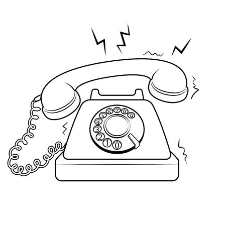Ilustración de Red hot old fashioned phone metaphor coloring retro vector illustration. Isolated image on white background. Comic book style imitation. - Imagen libre de derechos