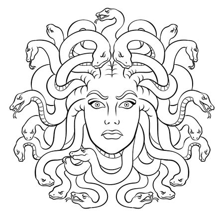 Ilustración de Medusa head with snakes Greek myth creature coloring vector illustration. Comic book style imitation. - Imagen libre de derechos