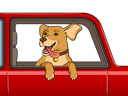 Ilustración de Dog head out of car window pop art retro vector illustration. - Imagen libre de derechos