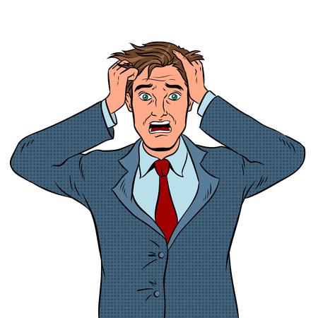 Man with panic emotion pop art vector illustration