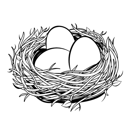 Illustration for Nest with golden egg coloring illustration - Royalty Free Image