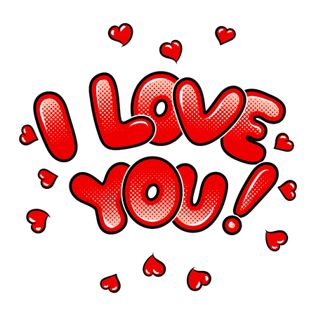 Illustration for I love you words comic book pop art vector - Royalty Free Image