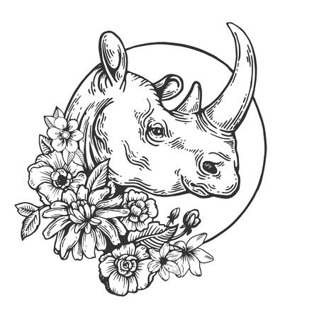 Ilustración de Rhinoceros animal engraving vector illustration. Scratch board style imitation. Black and white hand drawn image. - Imagen libre de derechos
