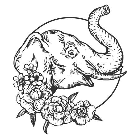 Ilustración de Elephant head animal engraving vector illustration. Scratch board style imitation. Black and white hand drawn image. - Imagen libre de derechos