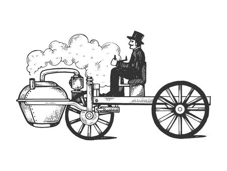 Illustration pour Steam engine car engraving vector illustration. Scratch board style imitation. Black and white hand drawn image. - image libre de droit