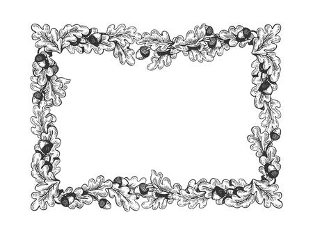Illustration pour oak frame engraving vector illustration. Scratch board style imitation. Hand drawn image. - image libre de droit