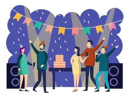 Ilustración de People party cartoon. Colorful flat style. Cartoon vector illustration - Imagen libre de derechos