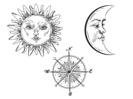 Ilustración de Sun and moon with face engraving vector illustration. Scratch board style imitation. Hand drawn image. - Imagen libre de derechos