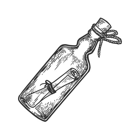 Illustration for Message in a bottle engraving vector illustration. Scratch board style imitation. Hand drawn image. - Royalty Free Image