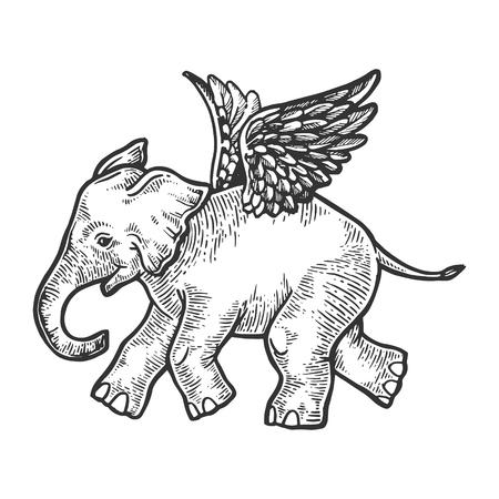 Ilustración de Angel flying baby elephant engraving vector illustration. Scratch board style imitation. Black and white hand drawn image. - Imagen libre de derechos
