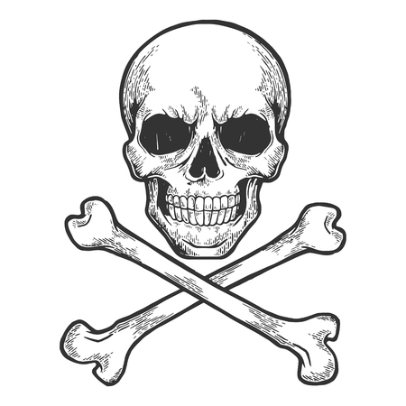Illustration pour Skull with crossed bones. Pirate symbol Jolly Roger sketch engraving vector illustration. Scratch board style imitation. Hand drawn image. - image libre de droit