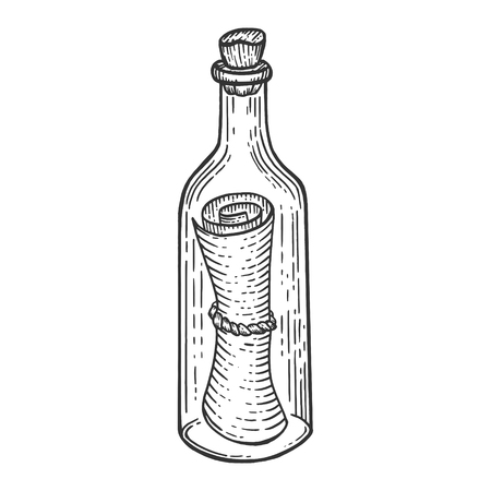 Illustration for Message in bottle sketch engraving vector illustration. Scratch board style imitation. Hand drawn image. - Royalty Free Image