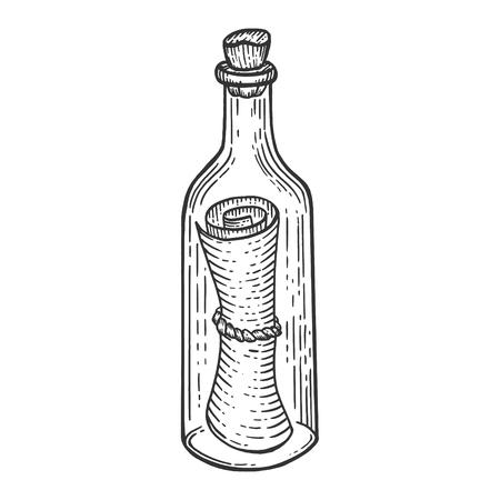 Ilustración de Message in bottle sketch engraving vector illustration. Scratch board style imitation. Hand drawn image. - Imagen libre de derechos