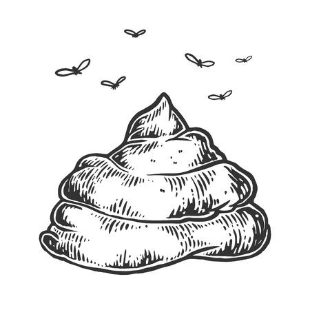 Ilustración de Poop with flies sketch engraving vector illustration. Scratch board style imitation. Hand drawn image. - Imagen libre de derechos
