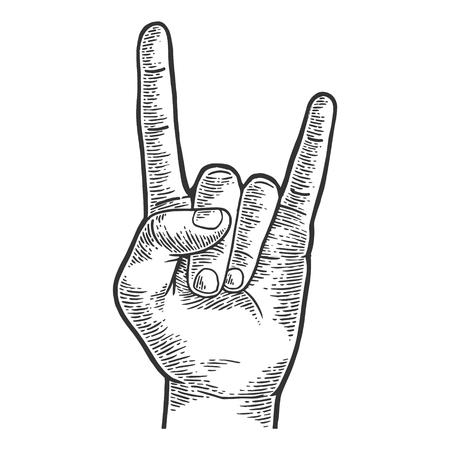 Illustration pour Sign of horns rock heavy metal hand gesture sketch engraving vector illustration. Scratch board style imitation. Hand drawn image. - image libre de droit