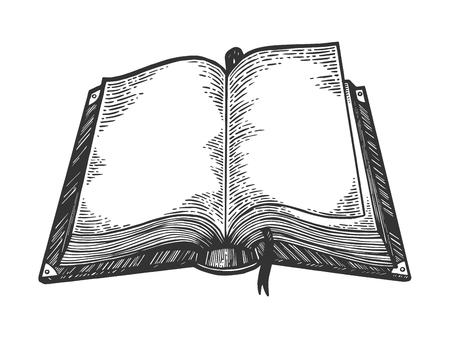 Ilustración de Open book sketch engraving vector illustration. Scratch board style imitation. Black and white hand drawn image. - Imagen libre de derechos
