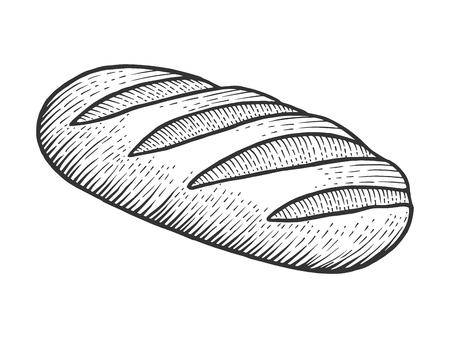 Illustration pour Bread loaf sketch engraving vector illustration. Scratch board style imitation. Black and white hand drawn image. - image libre de droit