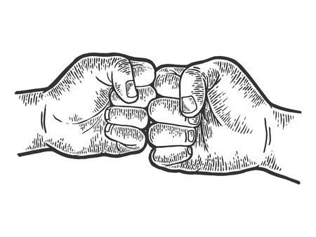 Ilustración de Fist greeting sketch engraving vector illustration. Scratch board style imitation. Black and white hand drawn image. - Imagen libre de derechos