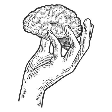 Ilustración de Human brain in hand sketch engraving vector illustration. Scratch board style imitation. Black and white hand drawn image. - Imagen libre de derechos