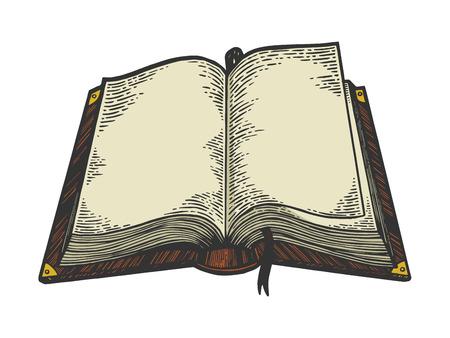 Ilustración de Open book color sketch engraving vector illustration. Scratch board style imitation. Black and white hand drawn image. - Imagen libre de derechos