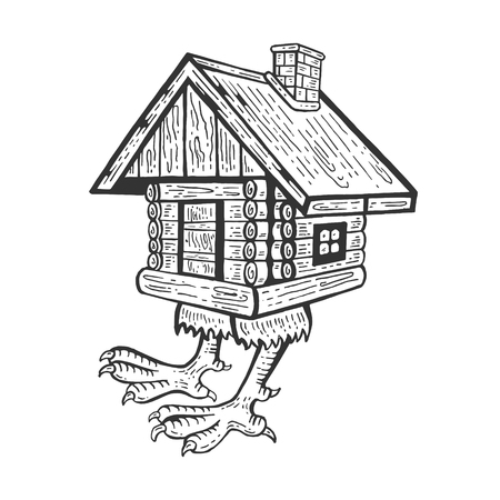 Illustration pour Hut on chicken legs Baba Yaga's house fairytale character engraving vector illustration. Scratch board style imitation. Hand drawn image. - image libre de droit