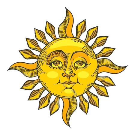 Ilustración de Sun with face color sketch line art engraving vector illustration. Scratch board style imitation. Hand drawn image. - Imagen libre de derechos