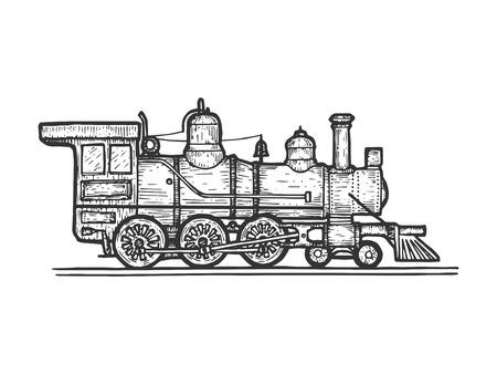 Illustration pour Old steam locomotive train transport sketch line art engraving vector illustration. Scratch board style imitation. Black and white hand drawn image. - image libre de droit
