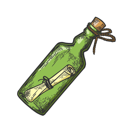 Illustration pour Message in a bottle color sketch engraving vector illustration. Scratch board style imitation. Hand drawn image. - image libre de droit