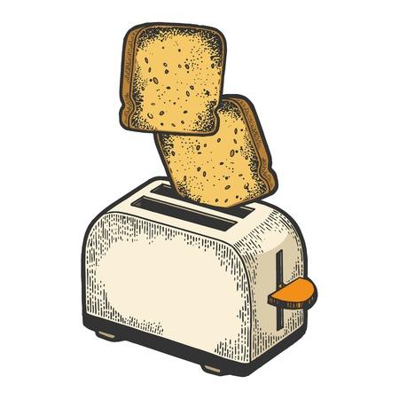Ilustración de Toaster with flying out bread toast crouton color sketch engraving vector illustration. Scratch board style imitation. Black and white hand drawn image. - Imagen libre de derechos